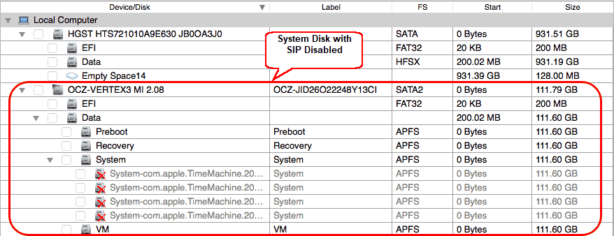 System disk with SIP disabled
